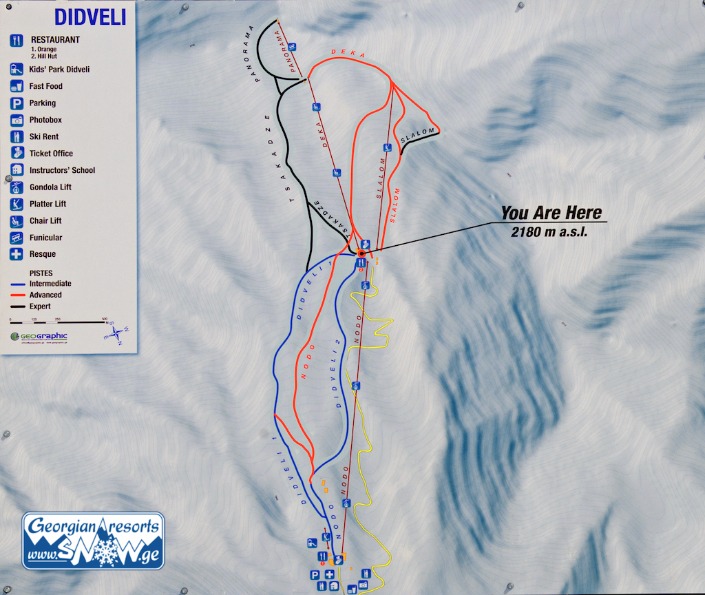 bakuriani (didveli) piste map - georgia - ski resorts piste maps