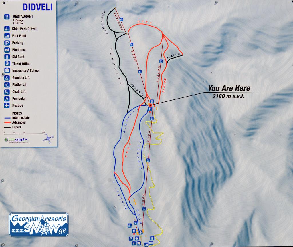 Карта склонов горнолыжного курорта Бакуриани