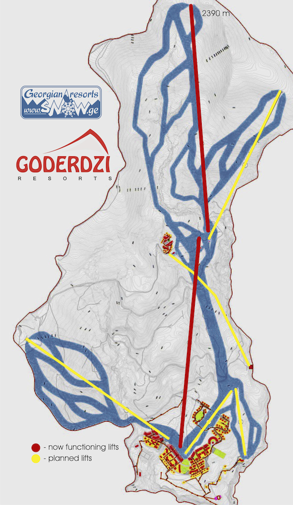 Карта схема трасс и канатных дорог в Годердзи