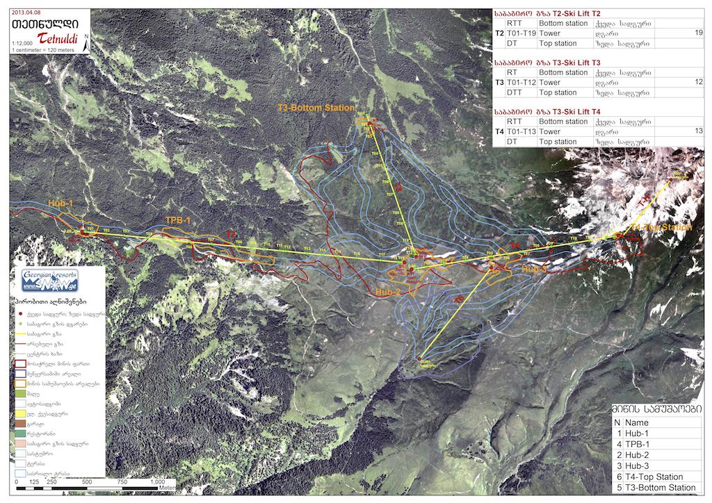 План-схема трасс и канатных дорог в Тетнулди