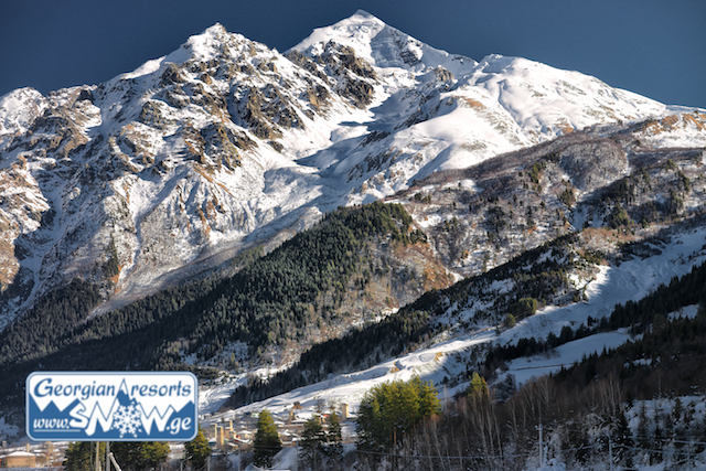 Tetnuldi, Georgien. Umschau des neuen Skigebiets von Swanetien.