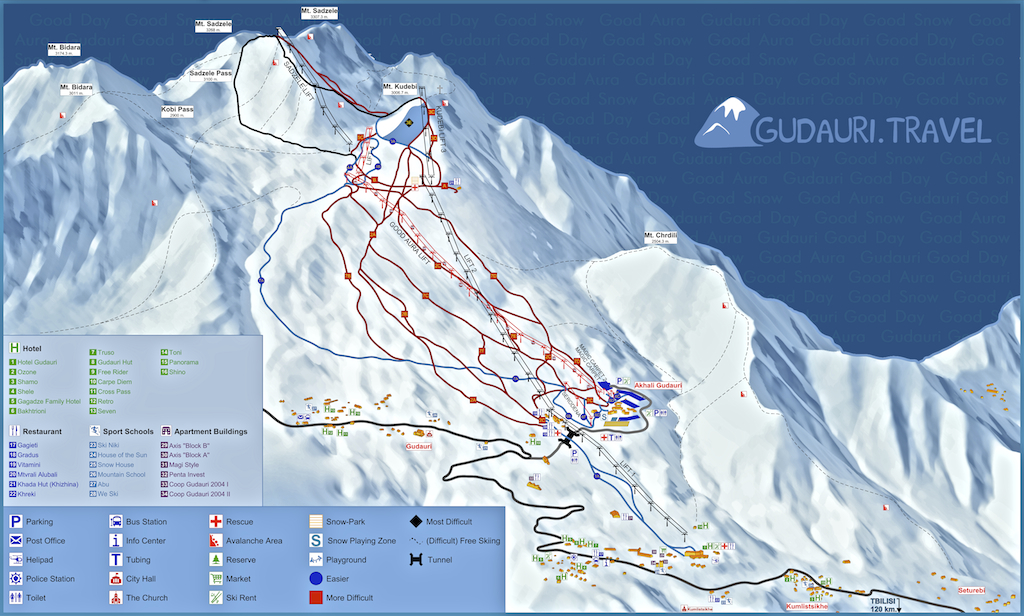 Карта трасс Гудаури
