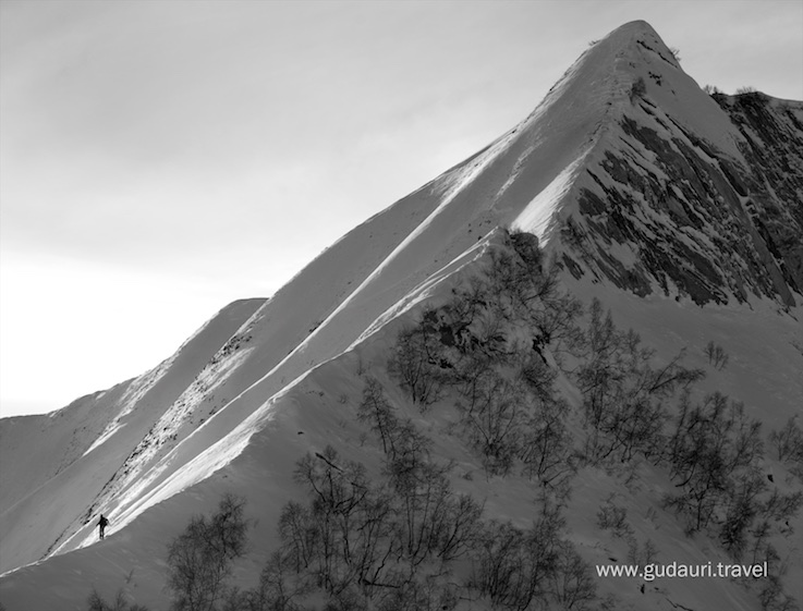 Magical spine line in the Gudauri backcountry. Photo - Oleg Gritskevich