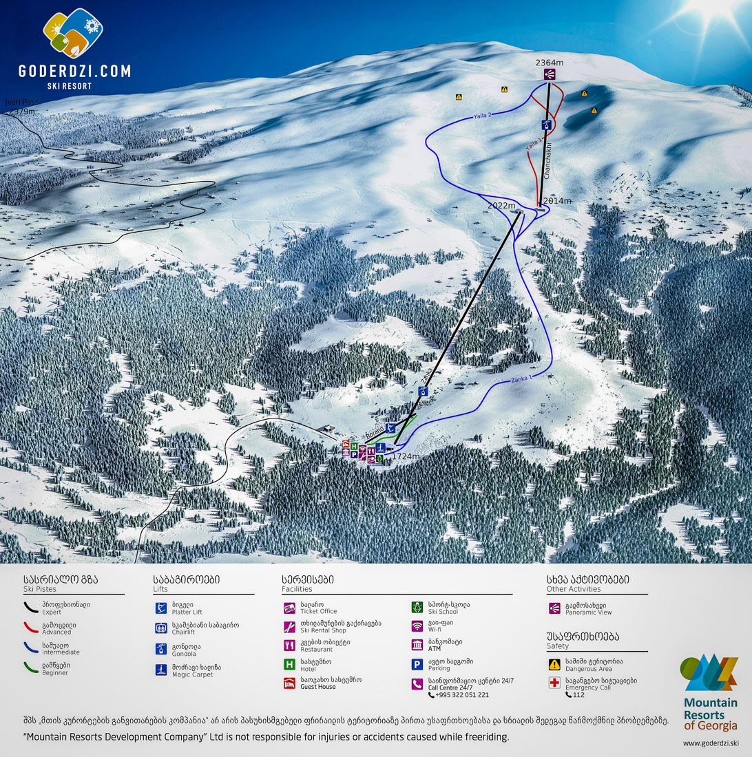 Map of the Goderdzi Ski Resort