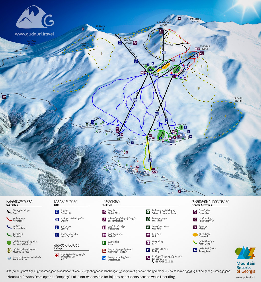Gudauri Map - ski trails and lifts