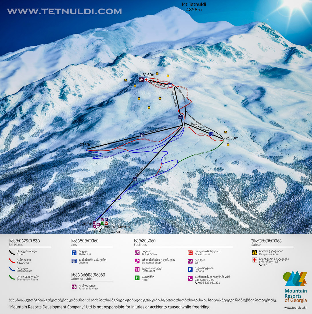 Ski Map of the Tetnuldi Ski Resort