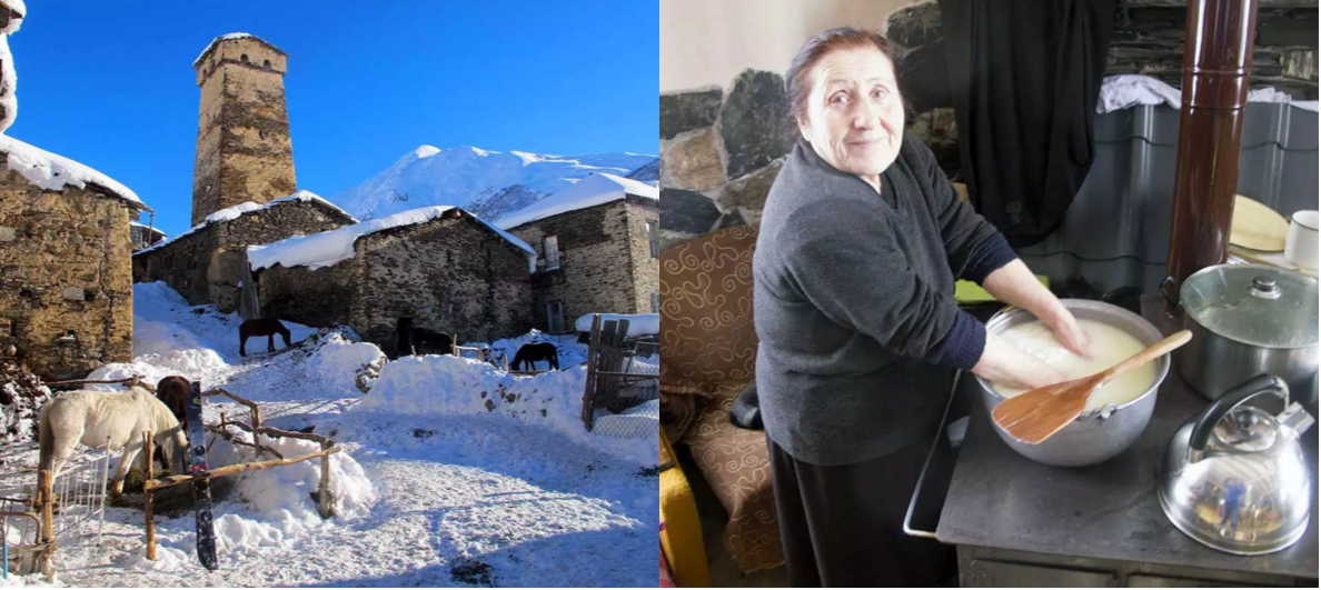 Left - Just outside the house, the start of another day's adventure… Right - Our lovely Babuska preparing hand made cheese. Photos - Luca Pandolfi